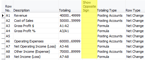 Use show opposite sign to reflect net income correctly on an – Income Statement Microsoft